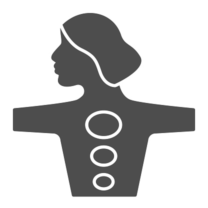 Girl body with hot stones solid icon, spa salon procedure concept, Stone treatment sign on white background, woman enjoying hot stones massage icon in glyph style, mobile. Vector graphics.