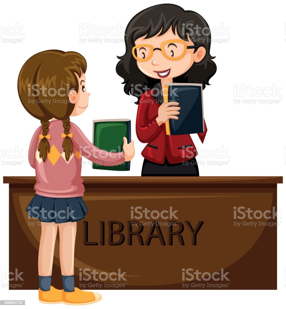 Girl borrowing book from library - ilustración de arte vectorial