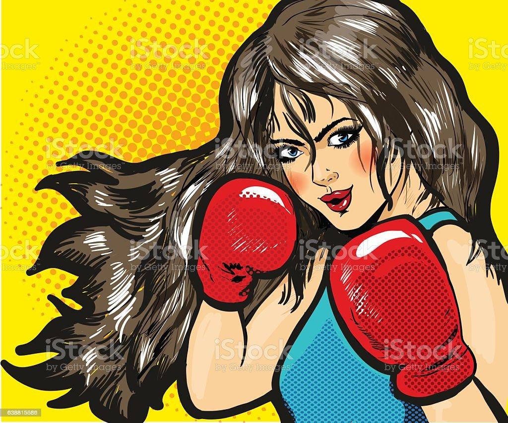Girl boxing pop art comic stock vector vector art illustration