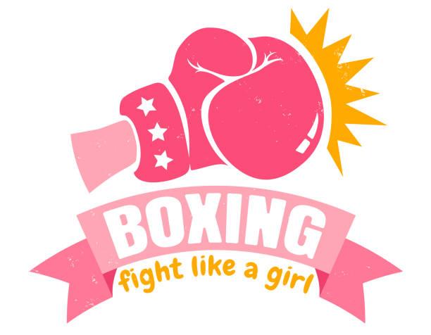 stockillustraties, clipart, cartoons en iconen met meisje boksen met roze handschoen en lint - kickboksen