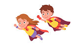 Girl & boy super heroes couple flying together showing clenched fist power & strength gesture. Brave kids superheroes wearing red cape costumes. Cute children cartoon characters. Flat style vector isolated illustration