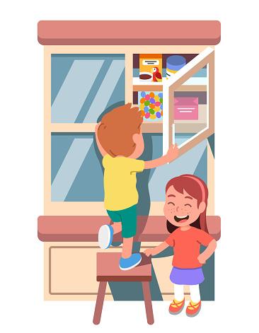 Girl, boy taking, stealing hidden sweets jar out of cupboard shelf in kitchen. Boy kid standing on stool opening cupboard door. Children left home alone. Misbehavior. Flat vector illustration