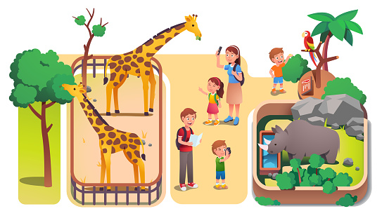 Girl & boys kids & parents taking photos & feeding animals in zoo. Families with children enjoying visiting zoo & watching giraffes, rhinoceros & parrot. Parenting & nature. Flat vector illustration