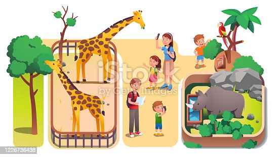 istock Girl & boys kids & parents taking photos & feeding animals in zoo. Families with children enjoying visiting zoo & watching giraffes, rhinoceros & parrot. Parenting & nature. Flat vector illustration 1226736438