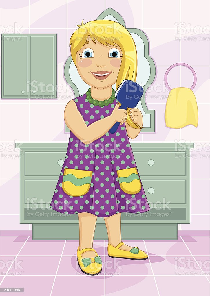 Girl Brushing Hair Vector Illustration vector art illustration