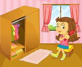 Girl brushing her hair inside room