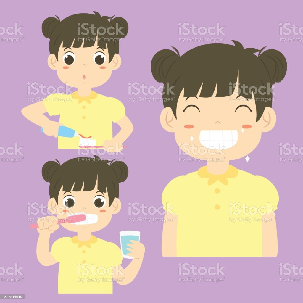 Girl Brushing Teeth Activity Vector Collection vector art illustration