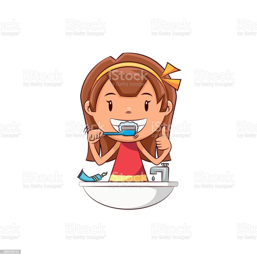 Girl brushing teeth vector art illustration