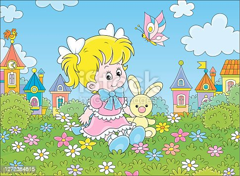 istock Girl, Bunny and Butterfly 1272384815