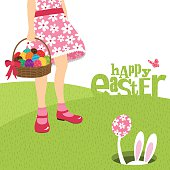 girl bunny and easter egg spring flower illustration vector minimil