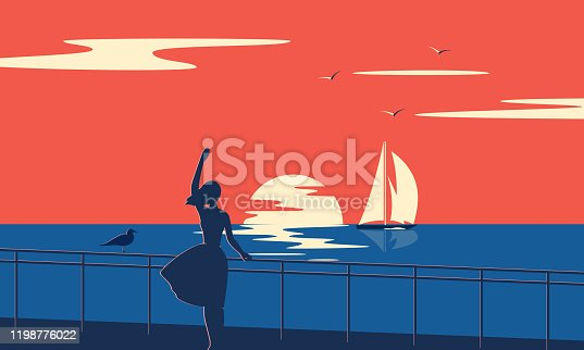 Evening seascape with sailboat. Girl by the sea at sunset.