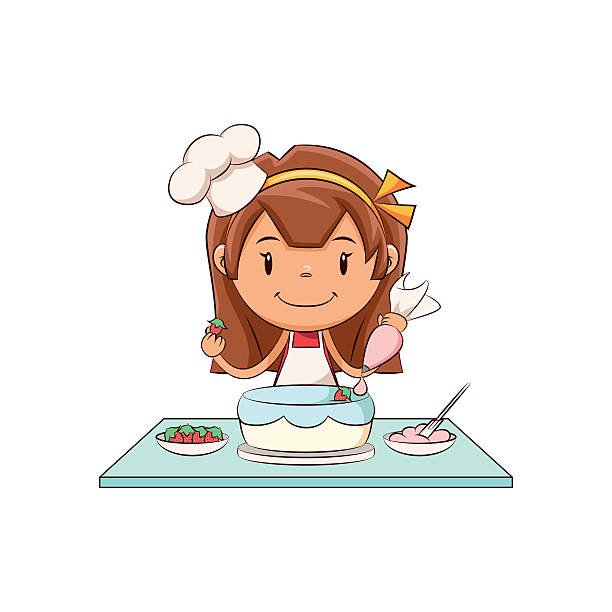 Girl cake decorating Child cake decorating, cute kid, pastry decorator, working, little chef, hat, apron, bakery, pastry bag, strawberries, frosting, female, happy cartoon character, vector illustration, isolated, white background decorating a cake stock illustrations