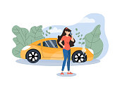 Girl calling car/road assistance for help. Burst wheel. Insurance accident on road. Flat vector illustration.