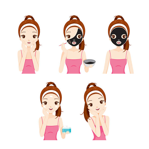 Girl Cares And Protects Her Face With Various Actions Set vector art illustration