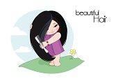 Girl cares for hair