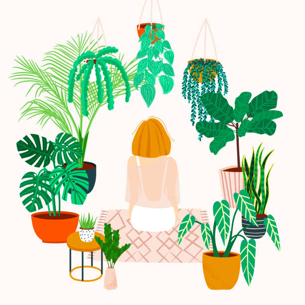 Girl caring for plants. Greenhouse, plants growing in pots. Crazy plant lady. Watering a home garden. Girl meditates on a rug in the interior with potted plants and flowers. Girl resting at home urban gardening stock illustrations