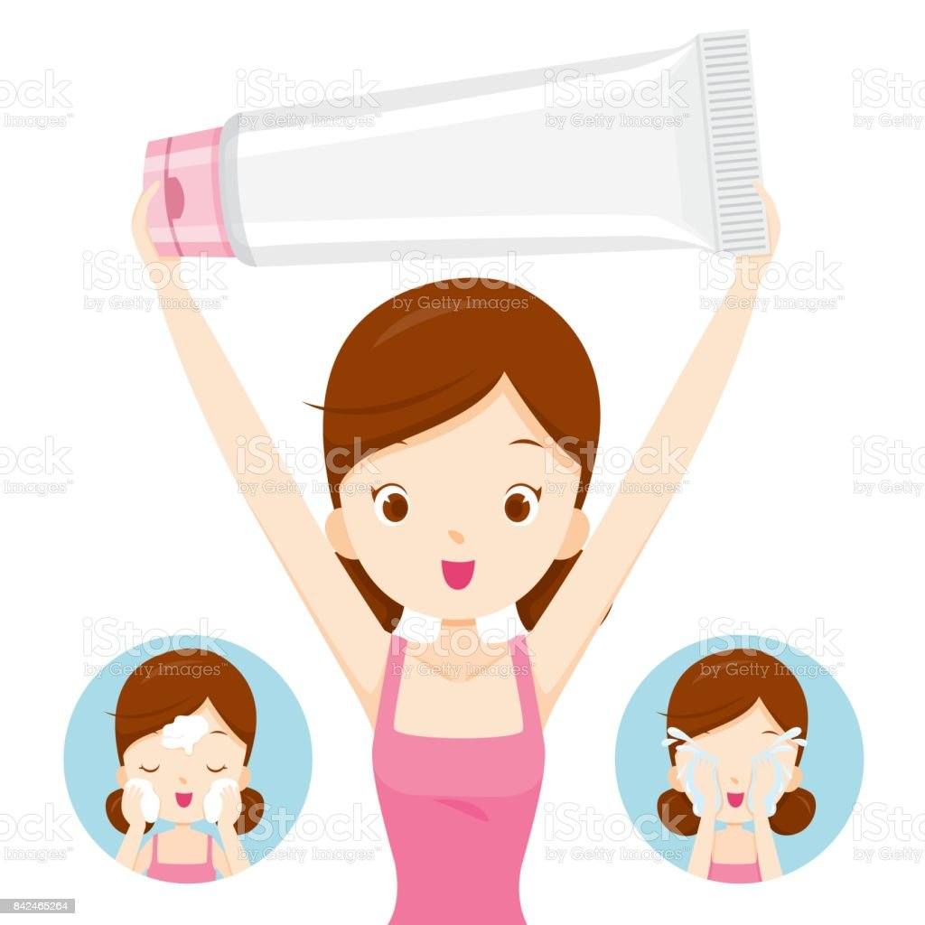 Girl Carrying Packaging And Cleaning Face vector art illustration