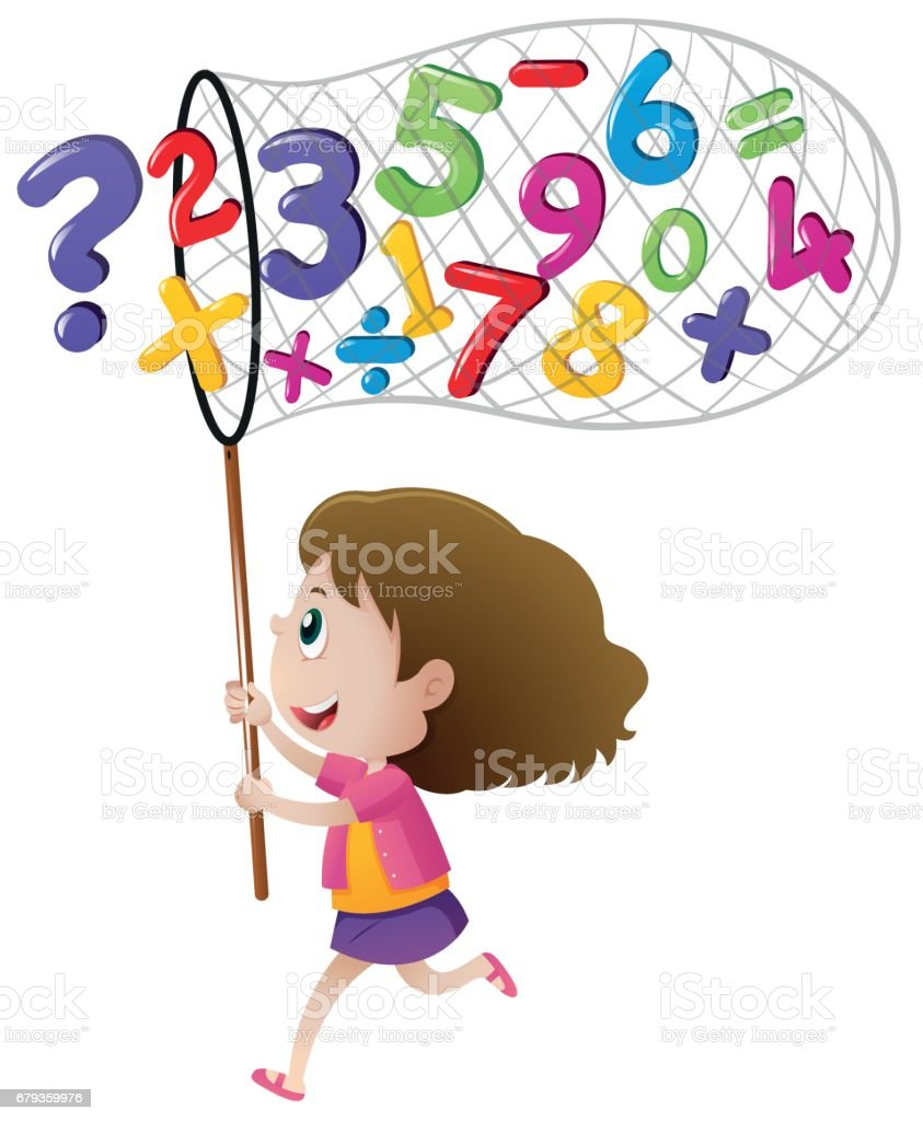 Girl catching numbers with net royalty-free girl catching numbers with net stock vector art & more images of art
