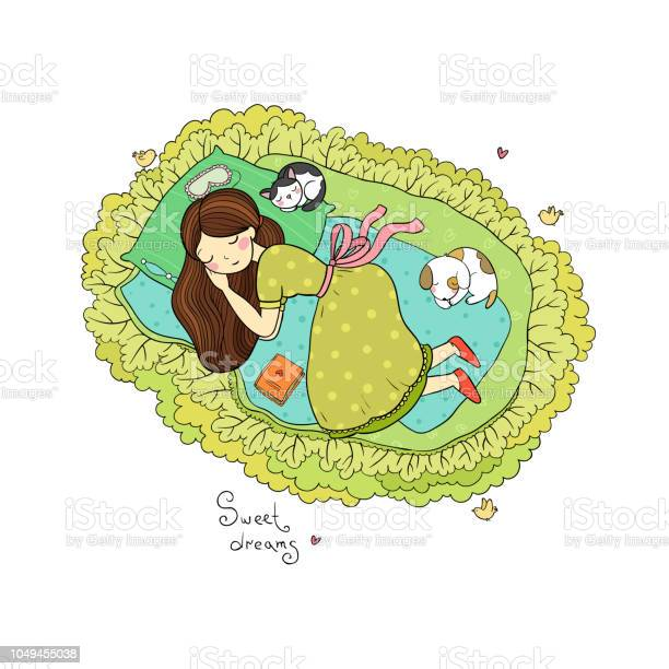 Girl cats and dog sleep in bed good night sweet dreams design for vector id1049455038?b=1&k=6&m=1049455038&s=612x612&h=g0hec ktqf0p2cyebvm3iqfvt6arygt2oq3yty 1wsa=