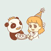 happy birthday! A panda carries a birthday cake as a party gift for the birthday girl.