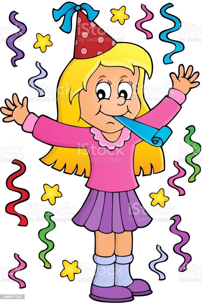 Girl celebrating theme image 1 vector art illustration