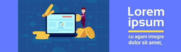 bildbanksillustrationer, clip art samt tecknat material och ikoner med flicka karaktär programmallen bitcoin gruvdrift för design arbete och animation kryptovaluta på blå bakgrund full längd platt kopia utrymme banner - graphs animation