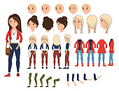 Girl character creation set vector illustration. Female constructor with various emotion on face, hand, leg, pose, hairstyle. Front, side, back view animated teenager with bag over shoulder.