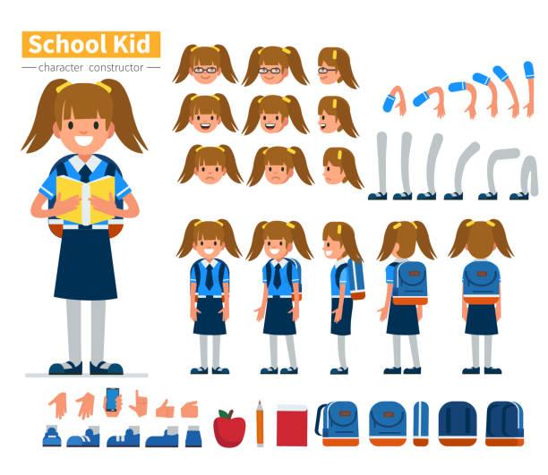 stockillustraties, clipart, cartoons en iconen met meisje teken - schooluniform