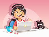 Illustration of a happy girl with a headset chatting on the internet while her nosy little cat is playing with a cable. Beside her on the table is a cup of tea and some candies. EPS 10, fully editable, grouped and labeled in layers.