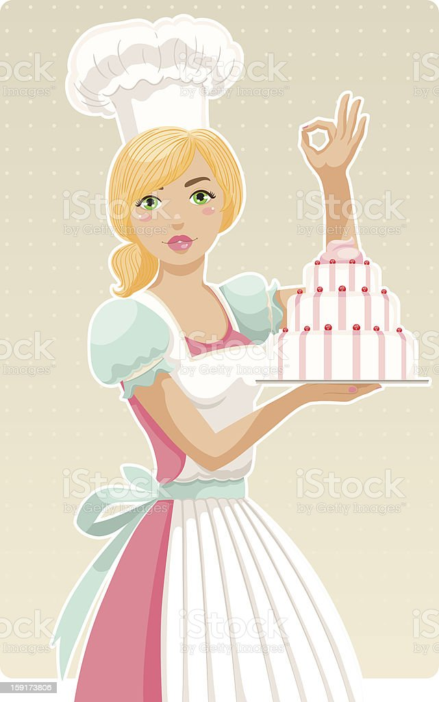 girl chef vector art illustration