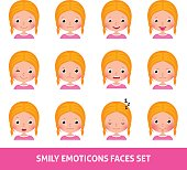 Girl child cute emoji, set smily emoticons faces