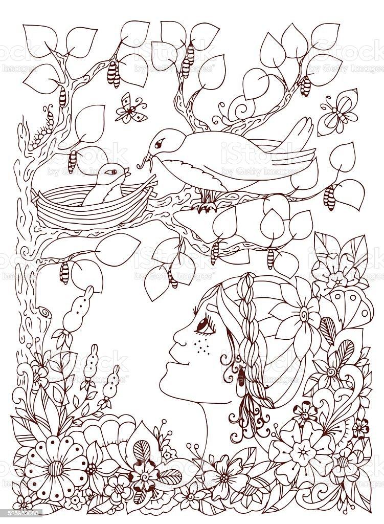Menina Crianca Com Freckles Desenhos De Flores Livro De Colorir