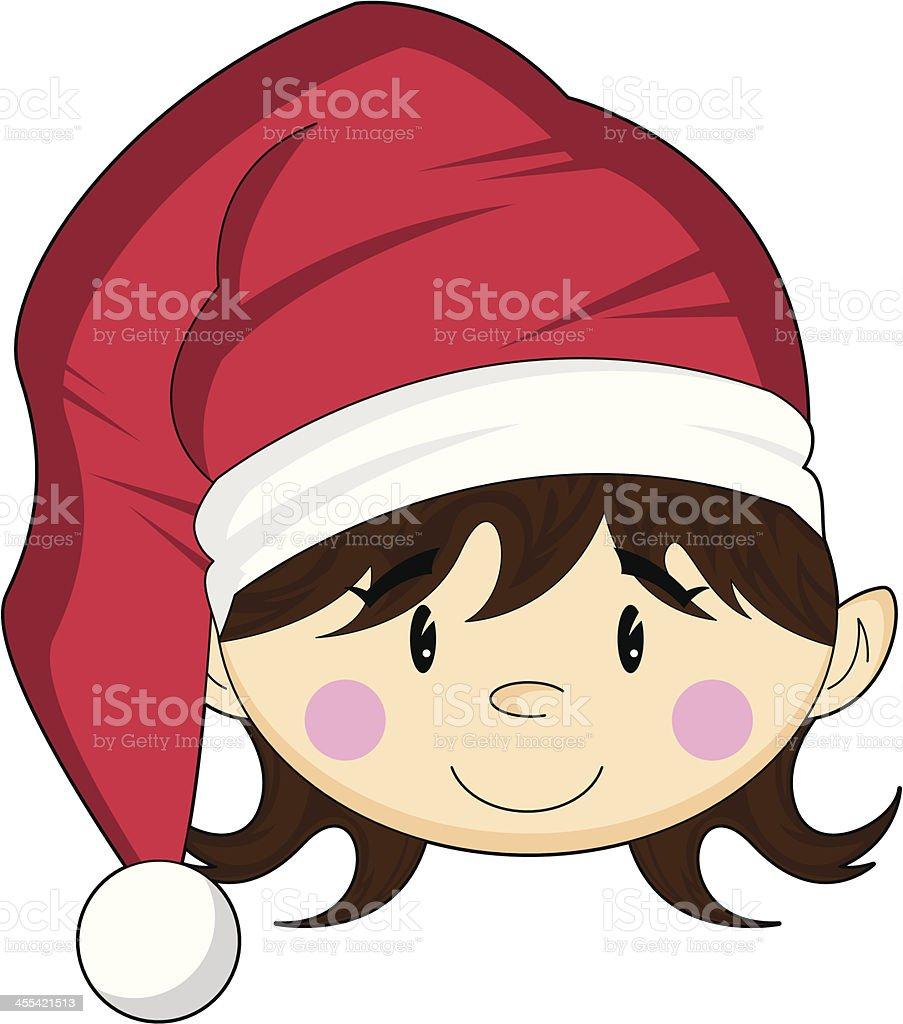 Girl Christmas Elf in Santa Hat royalty-free stock vector art