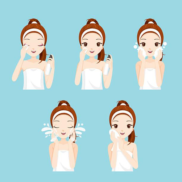 ilustrações, clipart, desenhos animados e ícones de garota de limpeza de rosto e cuidados com diversas acções indicadas - limpando rosto