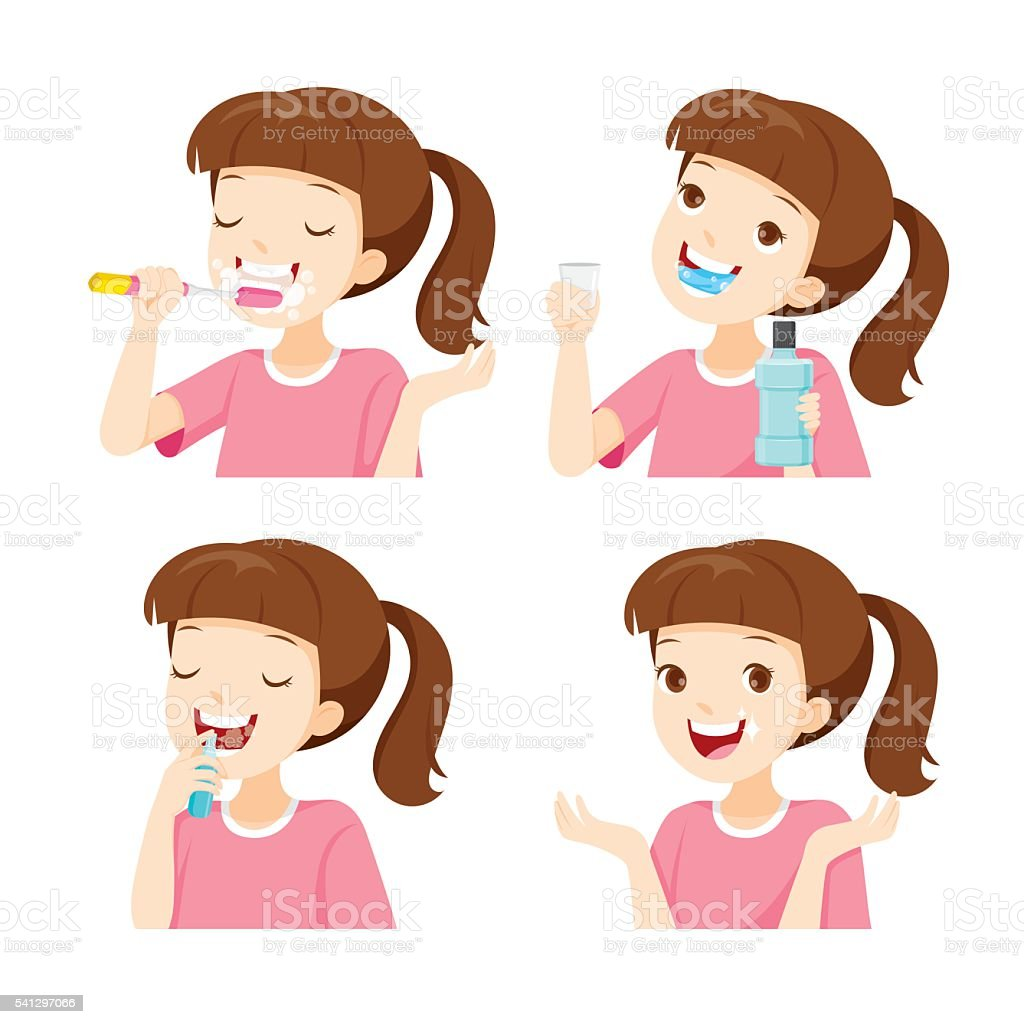 Girl Cleaning Teeth Set vector art illustration