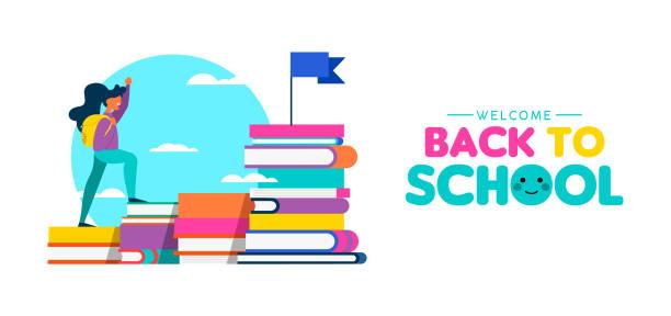 illustrations, cliparts, dessins animés et icônes de livres escalade fille pour retournez à la bannière web school - lycée