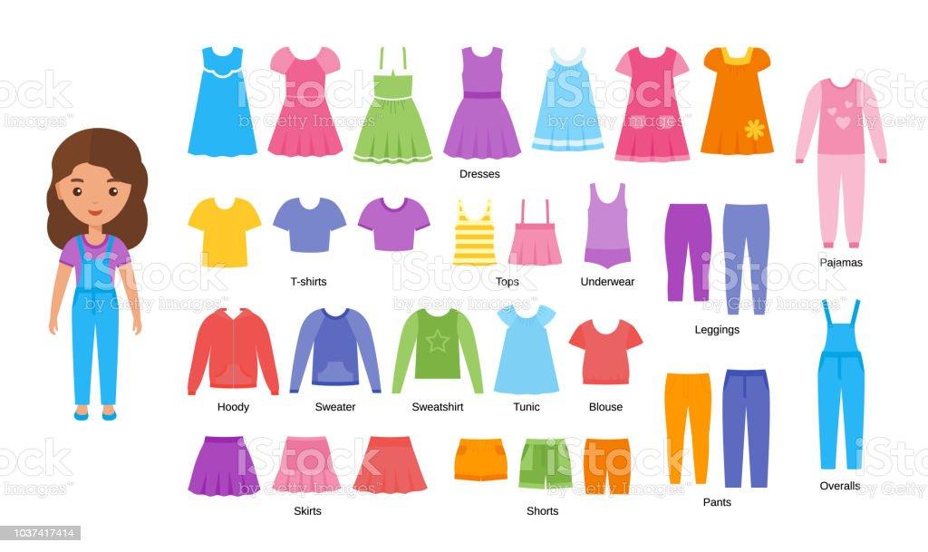 big sale cba23 f298e Mädchen Kleidung Vektorillustration Baby Kleidung Im Flat ...