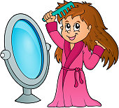 Girl combing hair theme 1