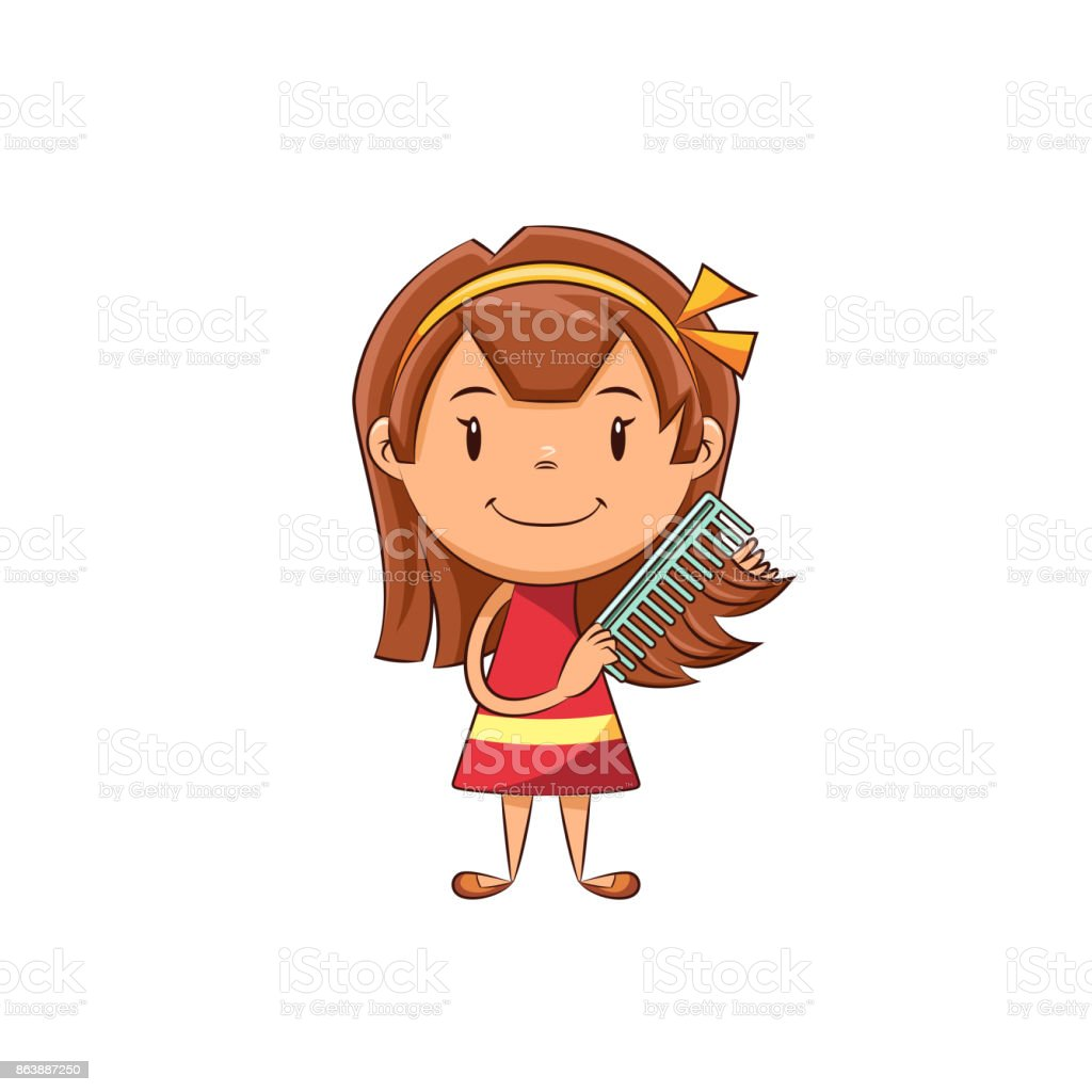 royalty free combing hair girl clip art vector images