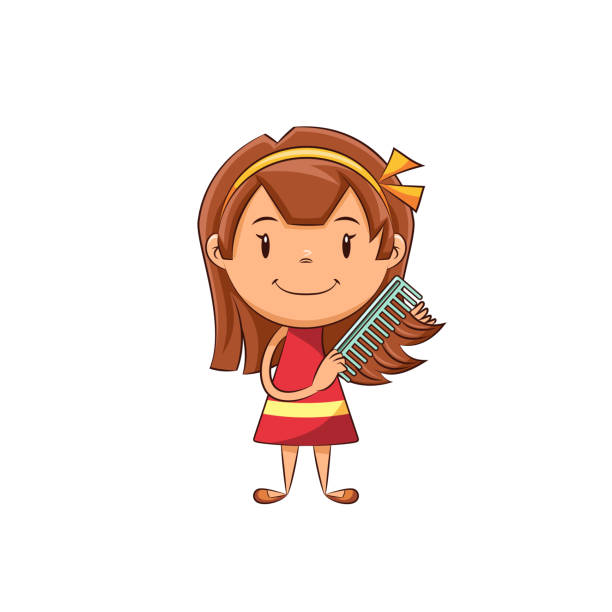 Girl Brushing Hair Clipart