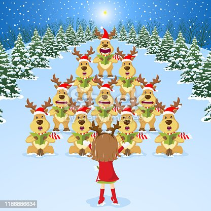 Little girl command a team of reindeer as a Christmas carol.