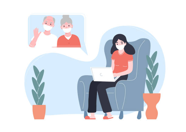 girl communicates on the internet with grandparents, stay at home coronavirus vector art illustration