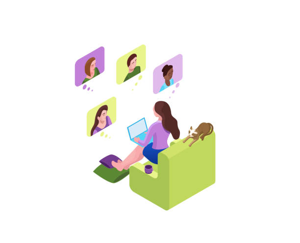 Girl communicates with colleagues, collective virtual meeting or group video conference, woman chatting with friends by online videochat, videoconferencing and remote work, 3d isometric illustration vector art illustration