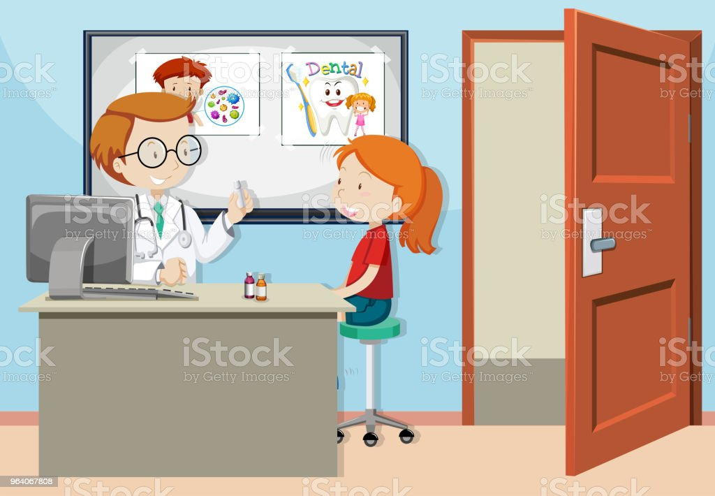 A Girl Consult with Doctor - Royalty-free Adult stock vector