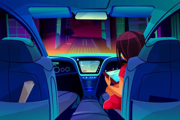 mädchen steuerung smart auto in vektor-illustration - tablet mit displayinhalt stock-grafiken, -clipart, -cartoons und -symbole