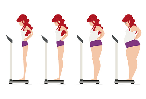 Girl controlling her weight and diet