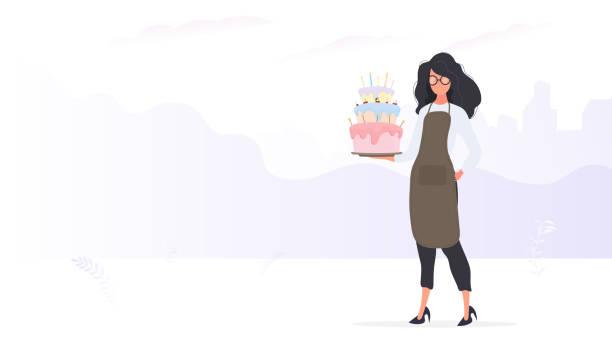 ilustrações de stock, clip art, desenhos animados e ícones de girl cook holds a birthday cake. girl holds a pie. good for birthday articles and banners. vector. - kitchen counter