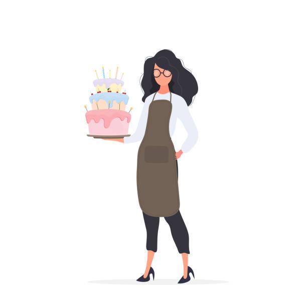 ilustrações de stock, clip art, desenhos animados e ícones de girl cook holds a birthday cake. girl holds a pie. isolated. vector. - kitchen counter