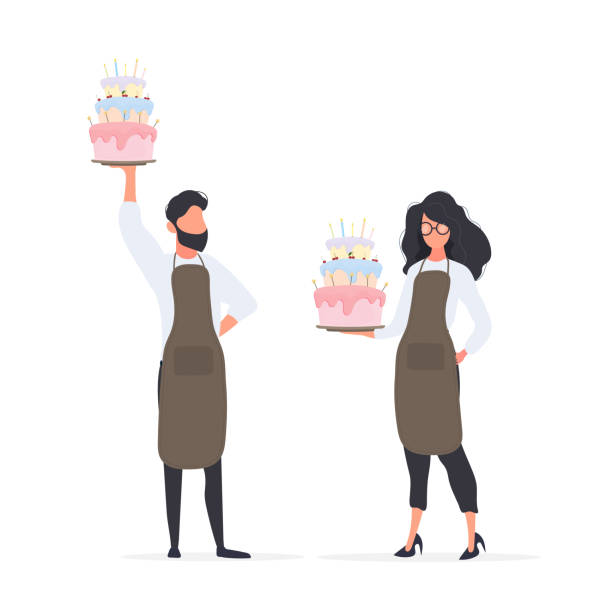Girl cook holds a birthday cake. The guy is holding a pie. Good for birthday articles and banners. Vector. Good for birthday articles and banners. Vector. cake clipart stock illustrations
