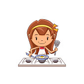 Child cooking fried egg, stove, cute kid, chef, food, using pan, spatula, young woman, person, female, happy cartoon character, vector illustration, isolated, white background